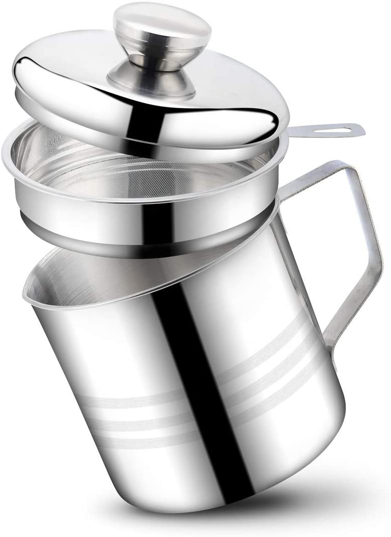 Stainless Steel Bacon Grease Container with Mesh Strainer Screen,1.2L/5 CupsCooking Oil Keeper Storage Canfor Kitchen