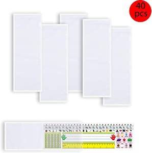 40 PCS Nameplate Pocket Adhesive Desk Nameplates Name Tag Pocket 13.4 x 4.7 Inch