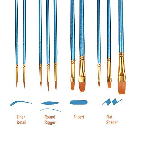 2 Packs 20 pcs Nylon Hair Brushes for All Purpose Oil Watercolor Painting Artist Professional Kits /… Acrylic Paint Brush Set Blue, 20pcs