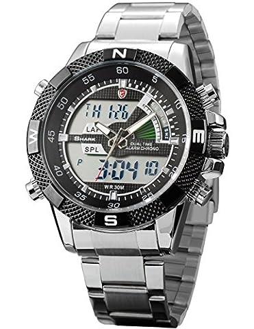 SHARK Men's Army Sport Quartz Watch Analog Digital/ Lcd/ Chronograph/ Date/ Day SH047 (Fantasy Wrist Watch)