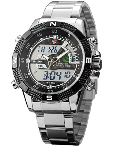 Steel Porbeagle Shark Men's Army Sport Quartz Watch Analog Digital Lcd Chronograph Date Day SH047