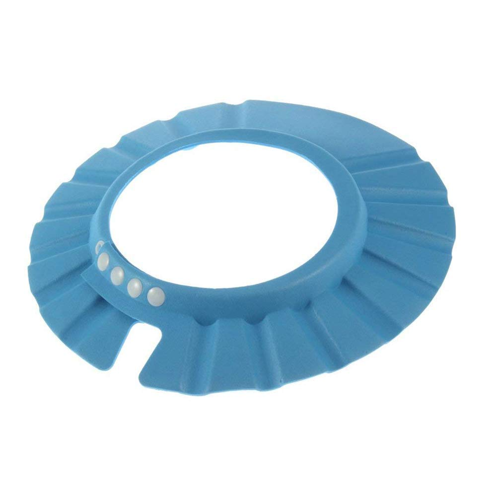 Yevison Premium Quality Leakproof baby shower visor safety shampoo shower gel bath protection shower cap soft adjustable sun visor suitable for babies, toddlers, children - blue