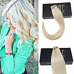 """Sunny 14"""" #60 Platinum Blonde Tape in Hair Extensions Human Hair 10Pcs 25Gram Seamless Remy Human Hair Extensions Tape on Hair"""