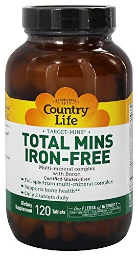 Country Life, Gluten Free, Total Mins Iron-Free, Multi-Mineral Complex with Boron, 120 Tablets by Country Life