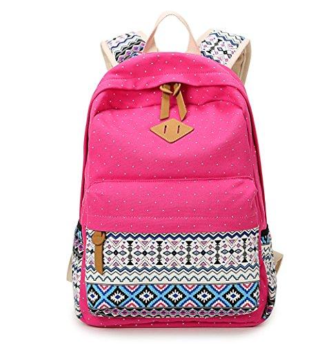 Mokamoka Canvas Gypsy Style Dot 14 Inch Laptop Backpack Large Capacity Casual Travel Backpack Book Bag School Bag
