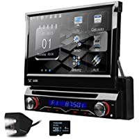 XTRONS New Version Single Din 7 Motorized Detachable HD Touch Screen Car Stereo In Dash USB SD DVD Player GPS Radio RDS Bluetooth 1 DIN with Screen Mirroring Function Reversing Camera&Kudos Map Card