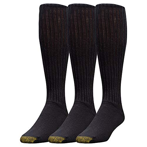 Gold Toe Men's Ultra Tec Performance Over The Calf Athletic Socks, 3-Pack, Black, Shoe Size: ()