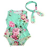 MIOIM Baby Girls Floral Crawl Romper Headband Onesie Sunsuit Outfits