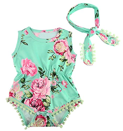 MIOIM Lovely Baby Girls Floral Crawl Romper Headband Onesie Sunsuit Outfits