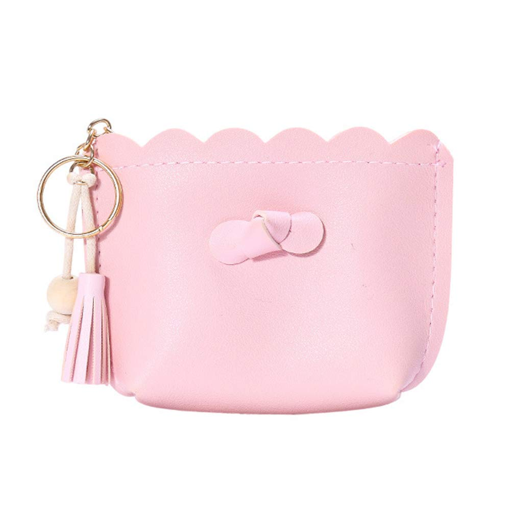 Daliuing Kawaii Monedero pequeño Bolsillo Monedero Mujer Pequeño Portamonedas de Cuero con Cremallera para Monedas Tarjetas Size 13.5 * 9.5 * 3.5CM (Rosa): ...