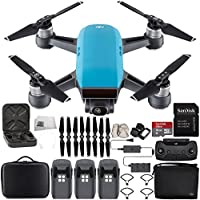 DJI Spark Portable Mini Drone Quadcopter Fly More Combo Portable Bag Shoulder Travel Case Bundle With Extra Battery (Sky Blue)