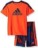 adidas Baby Boys Short Sleeve Tee and Short Set, Solar Red, 18M