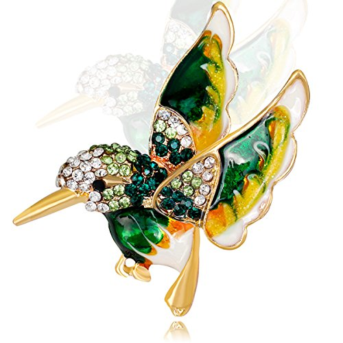 Jewelry Crystal Hummer Bird Brooch Pins - Animal Brooches Pins, Plated & Multi (Crystal Fashion Pin)