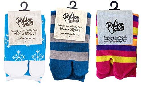 3 Pairs - V-Toe Stripe Variety Flip Flop Tabi Socks