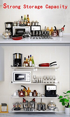 Wall Mounted Floating Shelves Home Organizer Storage Book Case 6 Square Bar 1 Tier with 5 Pot Rack Hook(39inch)