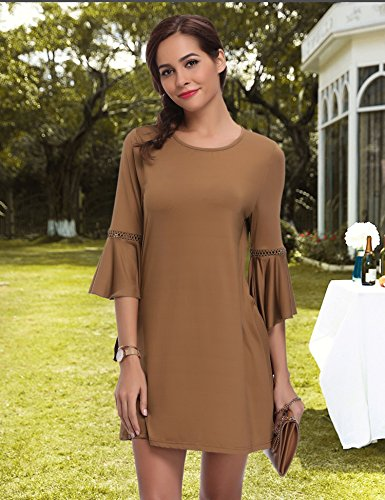 Sexy Cocktail Longues Side Robe Fente Robe Soire Kaki vases Manches wCCAPxtqg
