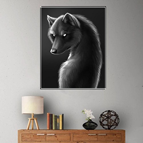 Pandaie -Black Wolf-5D Diamond Painting Kits Diy Amazon Kit Cross Stitch Michaels 3D Art Paint Hobby Decor Wall Room Stickers & Murals Bedroom