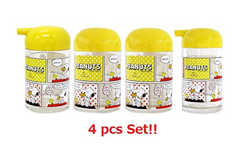 [4 pcs set] OSK Peanuts Snoopy Pepper,Toothpick,Sauce & Soy Sauce Bottle Set TA-11 TA-12 TA-14 TA-15 from Japan