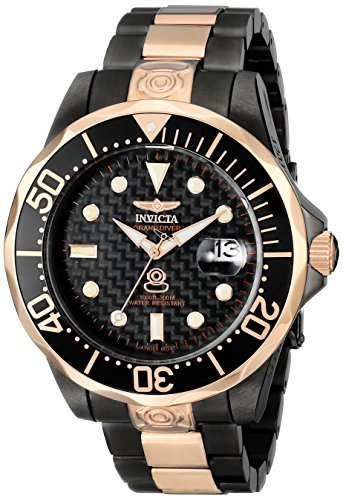 Invicta Men's 10643 Pro Diver Automatic Black Carbon Fiber Dial Two Tone Stainless Steel Watch Dial Grande
