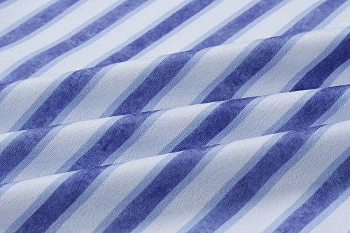Bouton Bretelles Spaghetti Imprimé Floral Féminin Blansdi Basculer Vers Le Bas Avec Des Poches Midi Robe De Stripe2 Bleu