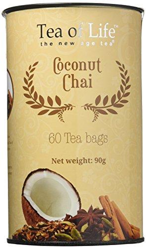 Tea of Life Chai Tea Jumbo Cannister, 60 Teabags (Coconut Chai)