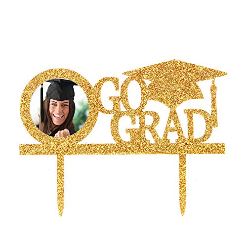 Gold Go Grad Cake Topper with Photo Frame, Graduation Cap Photo Picture Cake Toppers, Congrats Grad Party Cake Decoration -
