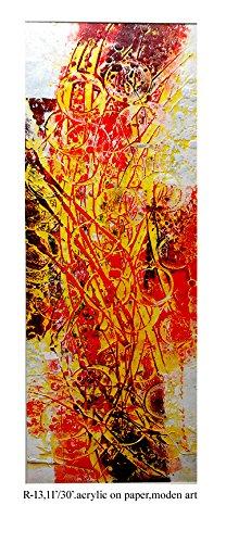 (Pooja ki Potli Untitled- R-13 Original Modern Art Acrylic Painting on Handmade paper- Home Décor- Interior Décor 11