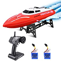 RemoteControl Boat, Kuman 25KM/H High Speed Waterproof Rc Racing Boat with 180º Flip Function,2.4GHz LCD Display Controller for Kids/Adults Pool & Outdoor Use SK1