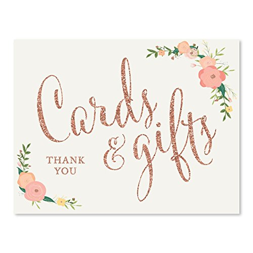Andaz Press Wedding Party Signs, Faux Rose Gold Glitter with Florals, 8.5x11-inch, Cards and Gifts Thank You, 1-Pack, Colored Decorations
