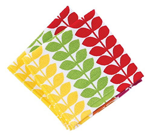 T-fal Textiles Highly Absorbent 100% Cotton Double Sided Printed Dish Cloths, 12 x 12, Set of 2, Vine Pattern, Warm