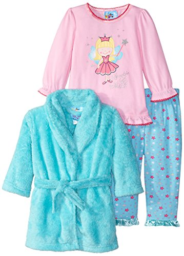 Baby Bunz Baby Girls' 3 Piece Princess Robe and Pajama Set, Mint, 18 Months (Toddler Girl Robe)