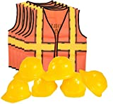 Kids Dress Up Construction Set - 6 Construction Worker Vest with 6 Construction Worker Soft Plastic Construction Helmets Hat
