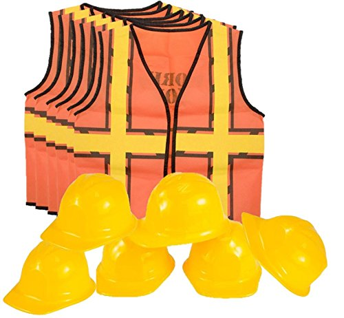 Kids Dress Up Construction Set - 6 Construction Worker Vest with 6 Construction Worker Soft Plastic Construction Helmets (Plastic Construction Hat)