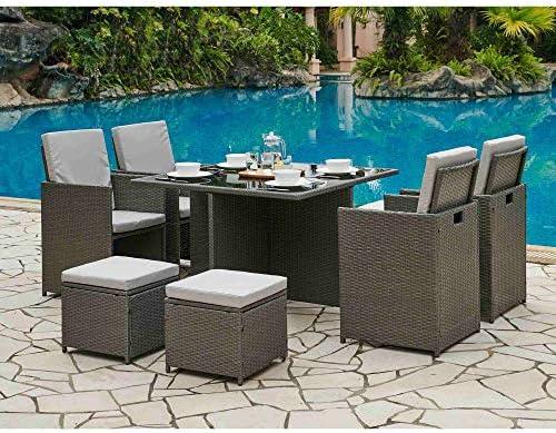 DecoInParis - Conjunto de Muebles de jardín de Resina Trenzada para 8 Personas: Amazon.es: Jardín