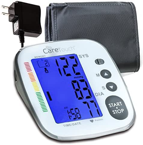 Care Touch Digital Blood Pressure Monitor Cuff - Platinum Series Upper Arm BP Machine with Large LCD Display, Medium to Large Cuff - Includes Batteries, AC Adapter and Carrying Case
