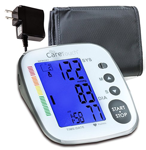 Care Touch Fully Automatic Upper Arm Digital Blood Pressure Monitor with AC Adapter – Platinum Series, Medium to Large Cuff – Batteries Included