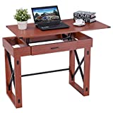 Tangkula Computer Desk Home Office Wood X Type Frame Adjustable Laptop PC Desk Writing Table