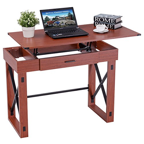 Tangkula Computer Desk Home Office Wood X Type Frame Adjustable Laptop PC Desk Writing Table by Tangkula