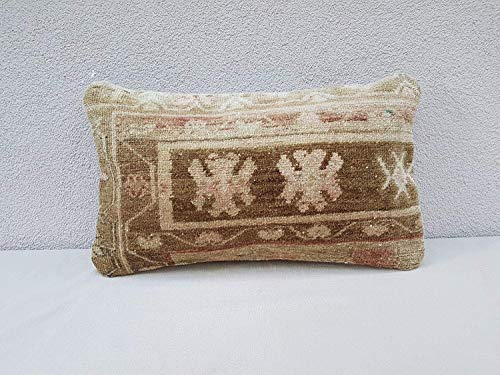 Handmade Turkish Carpet Cushion, Antique Oushak Lumbar Pillow Cover, Wool Farmhouse Decor from Anatolian, Pillow Case Fashioned from an Early 20th Century 12'' x 20'' (30 x 50 Cm) (Antique Blanket Wool)