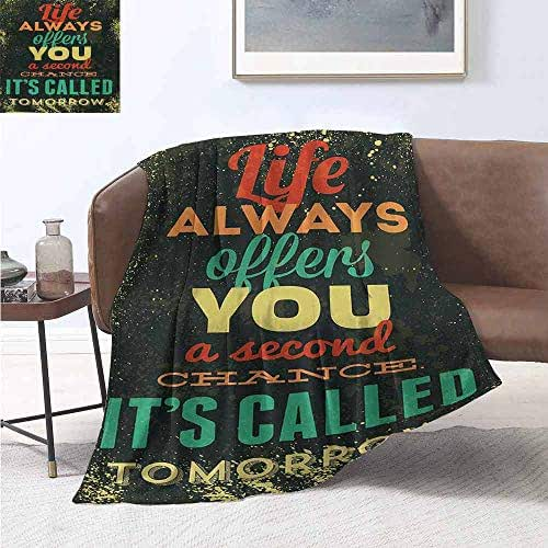 smllmoonDecor Grunge Super Soft Lightweight Blanket Life Always Offers You a Second Chance Its Called Tomorrow Motivational Quote Oversized Travel Throw Cover Blanket 70