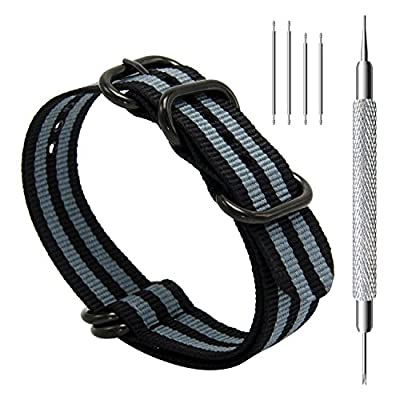 CIVO Heavy Duty G10 Zulu Military Watch Bands NATO Nylon Watch Strap Stainless Steel Rings 20mm 22mm 24mm from CIVO