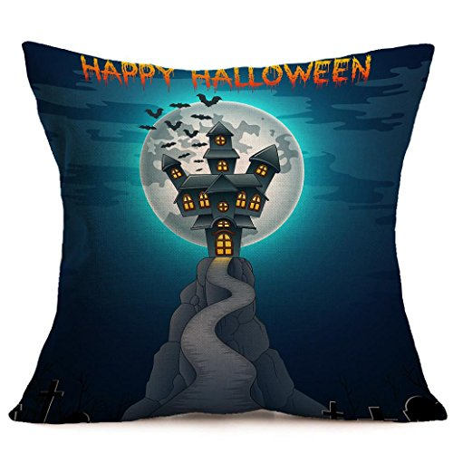 Halloween Pillow Cases,SUPPION Happy Halloween Pillow Cases Linen Sofa Cushion Cover Home Decor(8 kinds of patterns) (G)