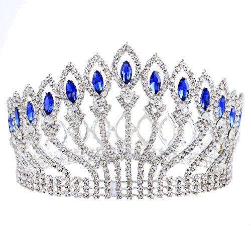 Prom Queen Crown Sapphire Crystal Crown Silver Peacock Wedding Bridal Headband Hair Accessory (blue) ()