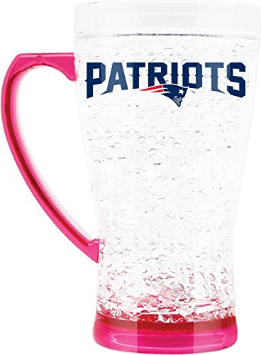 NFL New England Patriots 16oz Crystal Freezer Flared Mug with Pink Base and Handle