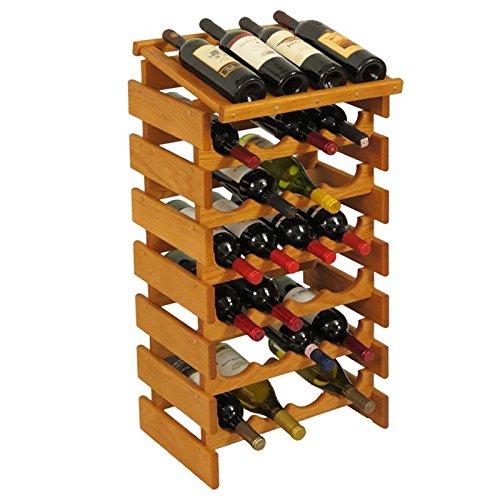 28-Bottles Wine Rack in Medium Oak Finish