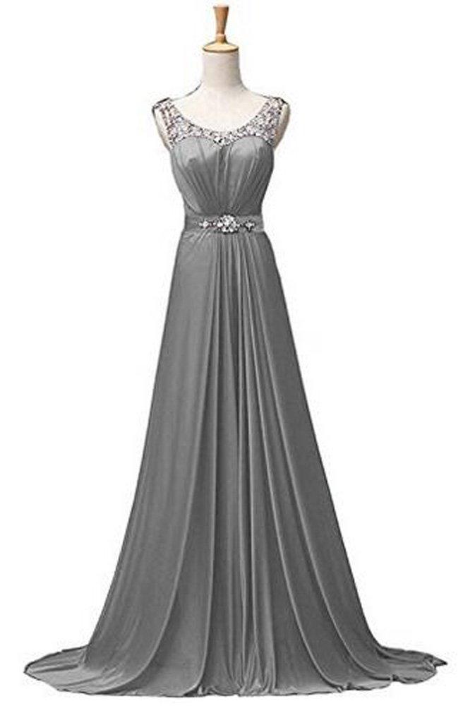 MaliaDress Long Chiffon Rhinestone Evening Bridesmaid Dress Prom Gown M034LF