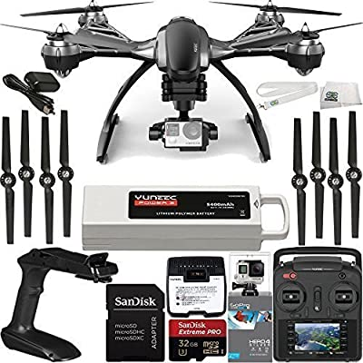 YUNEEC Typhoon G Quadcopter with GB20 Gimbal for GoPro (RTF) & Manufacturer Accessories + GoPro HERO4 Silver + SanDisk Extreme PRO 32GB microSDHC Memory Card (SDSDQXP-032G-G46A) + MORE