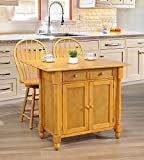 Bar Stools Near Me Sunset Trading DLU-KI-4222-B24-LO3PC Oak Selections Kitchen Island Set, Light