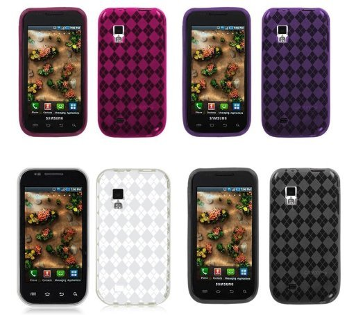 4in1 Combo (Clear Smoke Hot Pink Purple) Checker Premium Soft Argyle Flexi TPU Gel Skin Case Cover for Samsung Galaxy S Fascinate I500 /Verizon