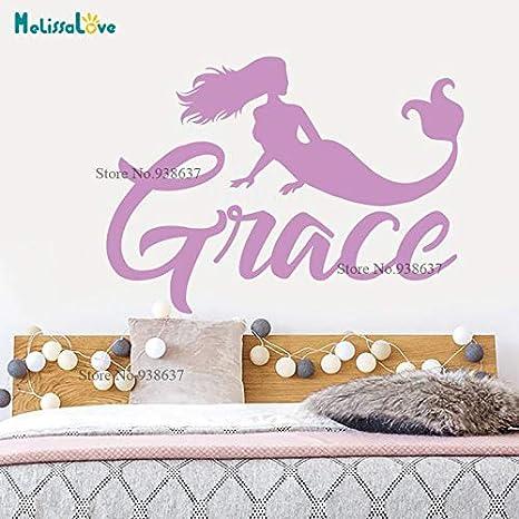 Etiqueta engomada personalizada Sirena Diseño Niña Bebé Habitación ...